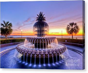 Pineapple Fountain Charleston Sc Sunrise Canvas Print by Dustin K Ryan