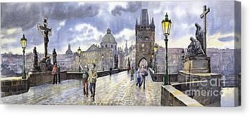 Prague Charles Bridge Canvas Print by Yuriy  Shevchuk
