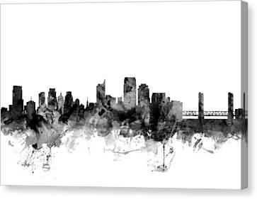 Sacramento California Skyline Canvas Print by Michael Tompsett
