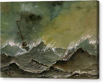 Sail Ship Watercolor Canvas Print by Juan  Bosco