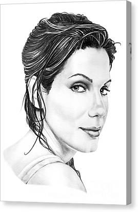 Sandra Bullock Canvas Print by Murphy Elliott