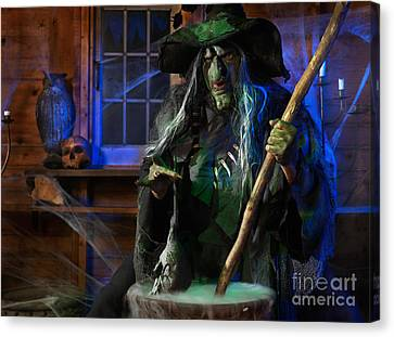 Scary Old Witch With A Cauldron Canvas Print by Oleksiy Maksymenko