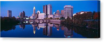 Scioto River And Columbus Ohio Skyline Canvas Print by Panoramic Images