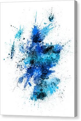 Scotland Paint Splashes Map Canvas Print by Michael Tompsett