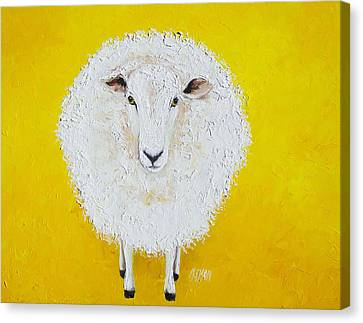 Sheep Painting On Yellow Background Canvas Print by Jan Matson