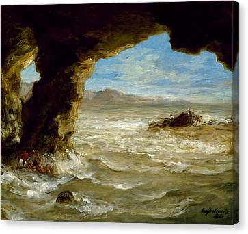 Shipwreck On The Coast Canvas Print by Eugene Delacroix