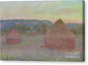 Stacks Of Wheat  End Of Day, Autumn Canvas Print by Claude Monet