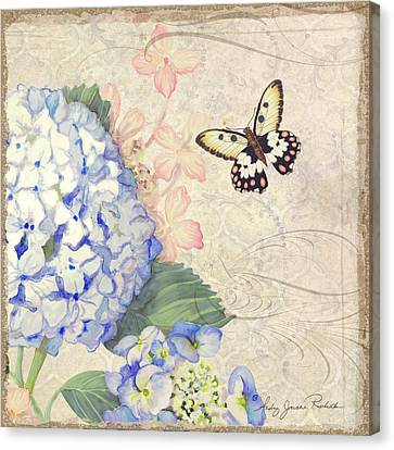 Summer Memories - Blue Hydrangea N Butterflies Canvas Print by Audrey Jeanne Roberts