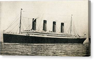 The 46,328 Tons Rms Titanic Of The Canvas Print by Vintage Design Pics