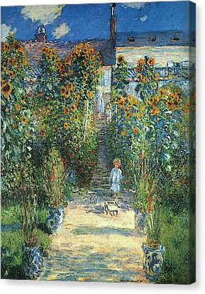 The Artist's Garden At Vetheuil Canvas Print by Claude Monet