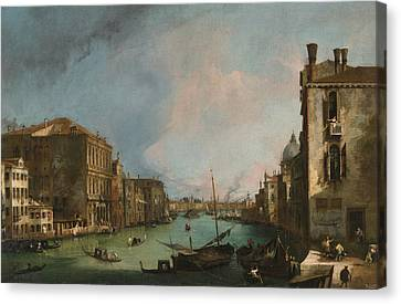 The Grand Canal In Venice With The Palazzo Corner Ca'grande Canvas Print by Canaletto