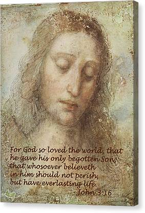 The Head Of Christ Canvas Print by Leonardo da Vinci
