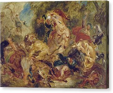 The Lion Hunt Canvas Print by Eugene Delacroix