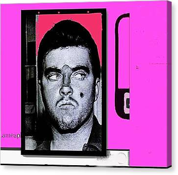Triple Murderer Charles Schmid In Makeup Tucson Arizona Collage Circa 1966-2013 Canvas Print by David Lee Guss