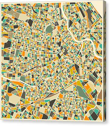 Vienna Map Canvas Print by Jazzberry Blue