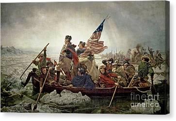 Washington Crossing The Delaware River Canvas Print by Emanuel Gottlieb Leutze