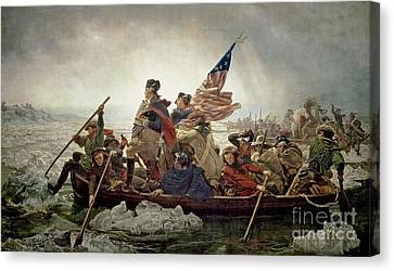 Washington Crossing The Delaware River Canvas Print by Emanuel Gottlieb Leutze