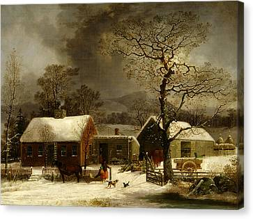 Winter Scene In New Haven, Connecticut Canvas Print by George Henry Durrie
