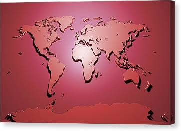 World Map In Red Canvas Print by Michael Tompsett