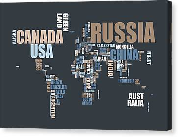 World Map In Words Canvas Print by Michael Tompsett