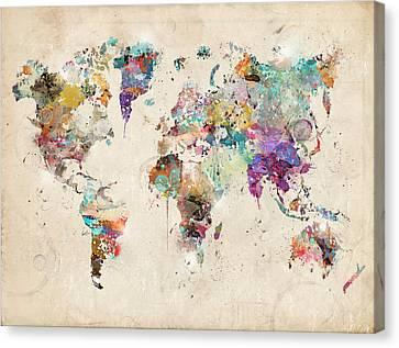 World Map Watercolor Canvas Print by Bri B