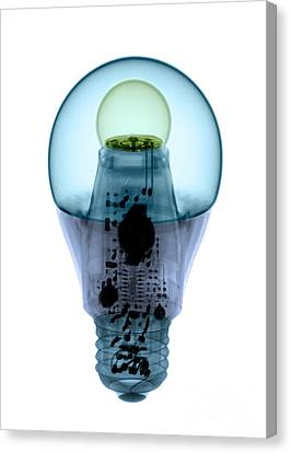 X-ray Of An Energy Efficient Light Canvas Print by Ted Kinsman