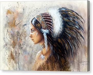 Young Indian Woman Wearing A Big Feather Headdress A Profile Portrait On Structured Abstract Backgr Canvas Print by Jozef Klopacka