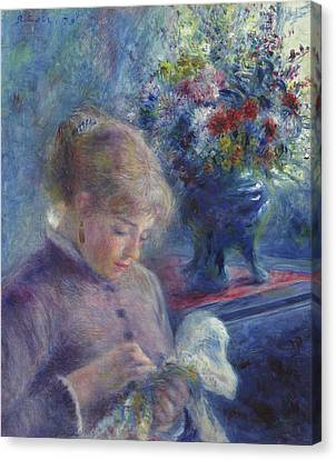 Young Woman Sewing Canvas Print by Pierre Auguste Renoir