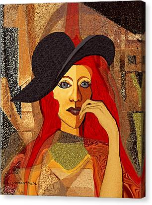 200 - Woman With Black Hat .... Canvas Print by Irmgard Schoendorf Welch