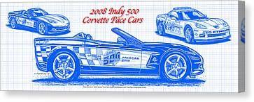 2008 Indy 500 Corvette Pace Car Blueprint Series Canvas Print by K Scott Teeters