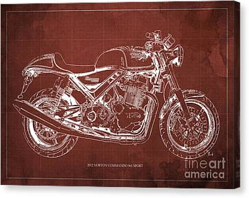 2012 Norton Commando 961 Sport Blueprint Classic Motorcycle Red Background Canvas Print by Pablo Franchi