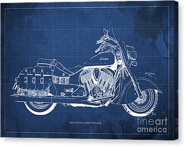 2016 Indian Chief Vintage Motorcycle Blueprint, Blue Background Canvas Print by Pablo Franchi
