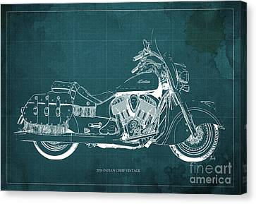 2016 Indian Chief Vintage Motorcycle Blueprint, Green Background. Gift For Men Canvas Print by Pablo Franchi