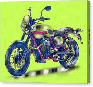 2016 Moto Guzzi V7ii Stornello - Warhol Style Canvas Print by Pablo Franchi