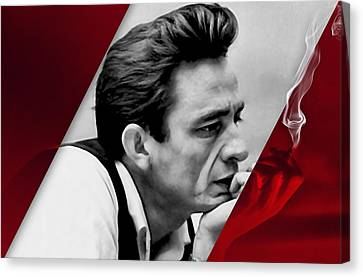 Johnny Cash Collection Canvas Print by Marvin Blaine