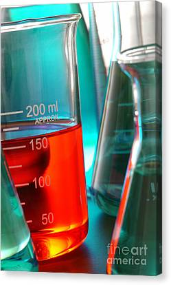 Laboratory Equipment In Science Research Lab Canvas Print by Olivier Le Queinec
