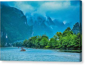 Karst Mountains And Lijiang River Scenery Canvas Print by Carl Ning