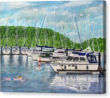 Lake Windermere Marina - Lake District Canvas Print by Ronald Haber