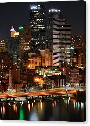 A Pittsburgh Night Canvas Print by Frozen in Time Fine Art Photography