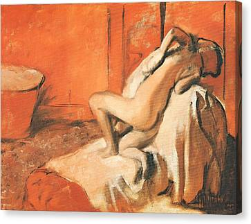 After The Bath Canvas Print by Edgar Degas