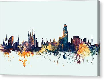 Barcelona Spain Skyline Canvas Print by Michael Tompsett