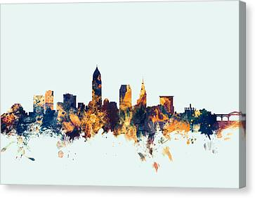 Cleveland Ohio Skyline Canvas Print by Michael Tompsett