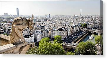 Gargoyle Guarding The Notre Dame Basilica In Paris Canvas Print by Pierre Leclerc Photography