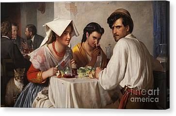 In A Roman Osteria Canvas Print by Carl Bloch
