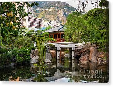 Japanese Garden In Monte Carlo Canvas Print by Elena Elisseeva