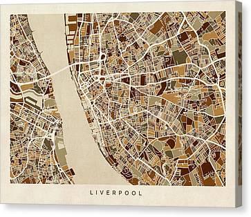 Liverpool England Street Map Canvas Print by Michael Tompsett