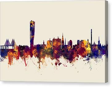 Malmo Sweden Skyline Canvas Print by Michael Tompsett