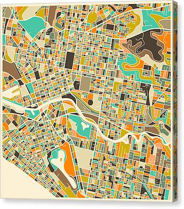 Melbourne Map Canvas Print by Jazzberry Blue
