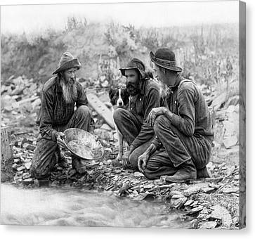 3 Men And A Dog Panning For Gold C. 1889 Canvas Print by Daniel Hagerman