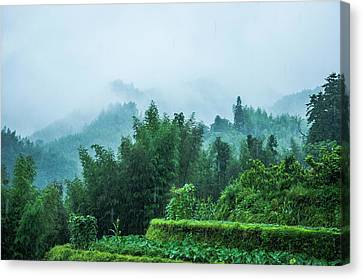 Mountains Scenery In The Mist Canvas Print by Carl Ning